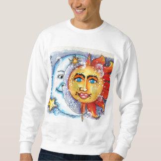 Sun y diseño de la luna sudadera con capucha