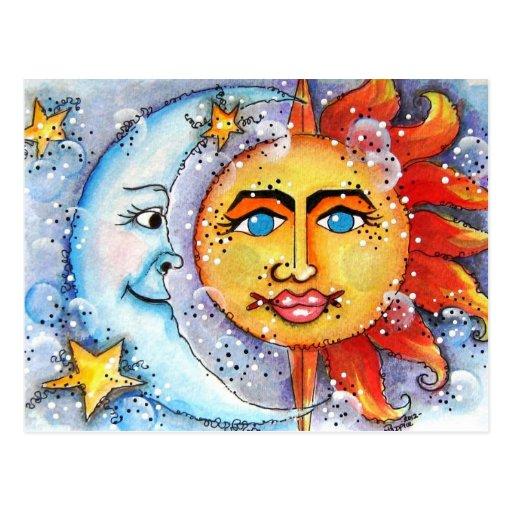 Sun y diseño de la luna tarjeta postal