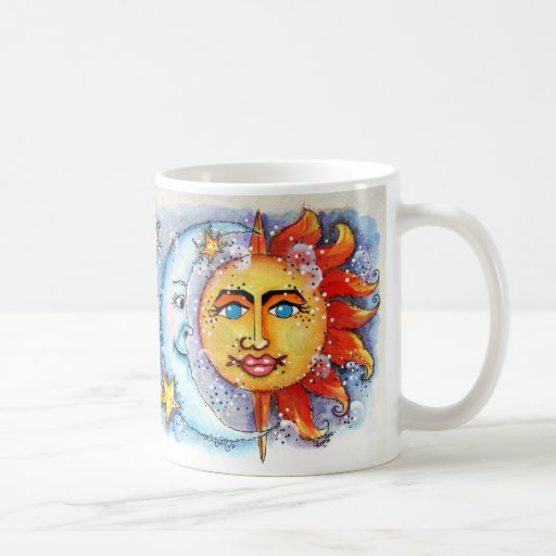 Sun y diseño de la luna taza