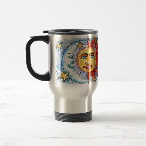 Sun y diseño de la luna tazas de café
