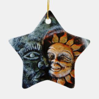 Sun y estrella de la fe de la luna adorno navideño de cerámica en forma de estrella