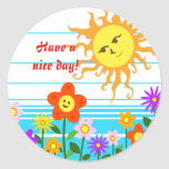 Sun y flores etiqueta redonda