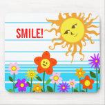 Sun y flores tapetes de ratón