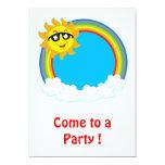 Sun y guirnalda del arco iris con las nubes anuncio personalizado