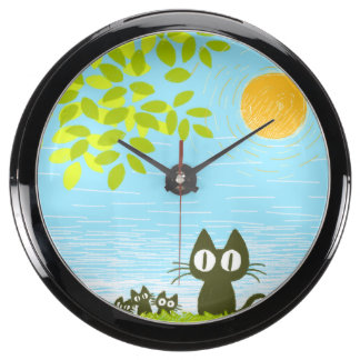 Sun y hojas y gato negro relojes acuario