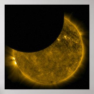 Sun y impresión de la lona de la luna poster