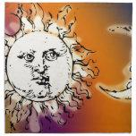 Sun y luna coloridos servilletas de papel