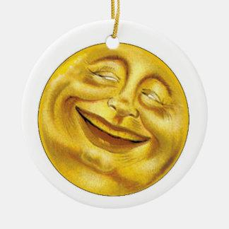 Sun y luna adorno redondo de cerámica