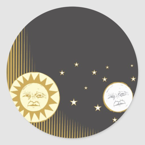 Sun y luna etiquetas redondas