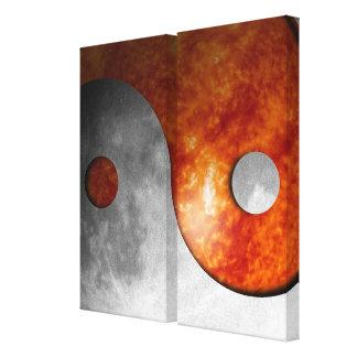 Sun y luna Yin Yang Lona Envuelta Para Galerías