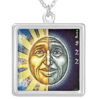 Sun y necklase del jazz de la luna colgante cuadrado