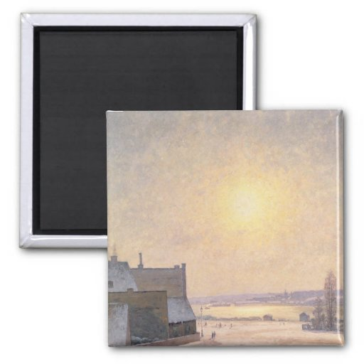 Sun y nieve, escena de Estocolmo Imán Cuadrado