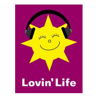 Sun y postal de la vida de Lovin de los auriculare