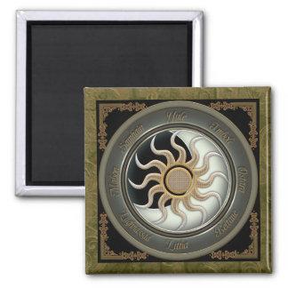 Sun y rueda del Pagan de la luna Imán Cuadrado