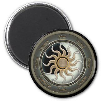 Sun y rueda del Pagan de la luna Imán Redondo 5 Cm