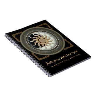 Sun y rueda del Pagan de la luna Libretas Espirales