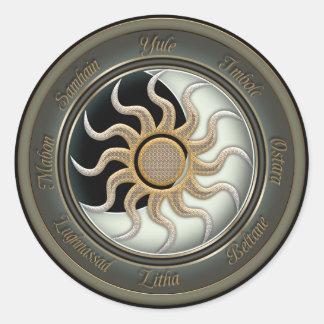 Sun y rueda del Pagan de la luna Pegatina Redonda