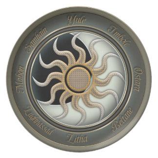 Sun y rueda del Pagan de la luna Plato De Cena