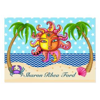 Sun y tarjeta de visita de la playa