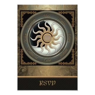 """Sun y tarjetas paganas de RSVP de la rueda de la Invitación 3.5"""" X 5"""""""