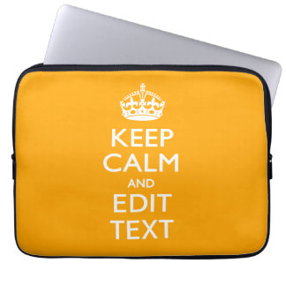 Sun Yellow Background Keep Calm And Your Text Computer Sleeve