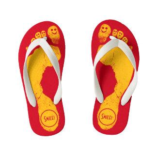 Sun Yellow Footprints Smiley-Toes™ Run-Around Red Kid's Flip Flops