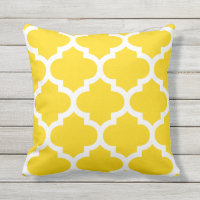 Sun Yellow Moroccan Quatrefoil Outdoor Pillows