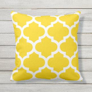Sun Yellow Moroccan Quatrefoil Outdoor Pillows