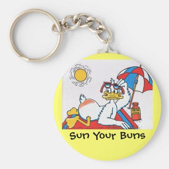 Sun Your Buns Vacation Humor Keychain