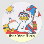 Sun Your Buns Vacation Humor Sticker