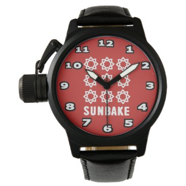 Beach Themed SunBake Men's Crown Protector Black Leather Watch