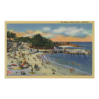 Sunbathers & Swimmers at the Beach Poster