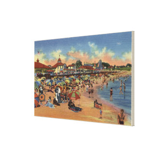 Sunbathers & Swimmers on Boardwalk & Beach Stretched Canvas Prints