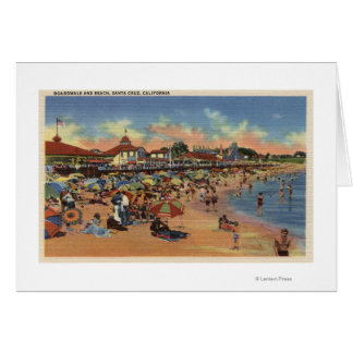 Sunbathers & Swimmers on Boardwalk & Beach Greeting Cards