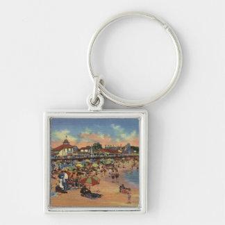 Sunbathers & Swimmers on Boardwalk & Beach Key Chains