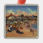Sunbathers & Swimmers on Boardwalk & Beach Square Metal Christmas Ornament