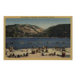 Sunbathers & Swimmers on the Beach Print
