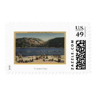 Sunbathers & Swimmers on the Beach Stamp