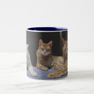 Sunbathers Tabby and White Cats mug cup