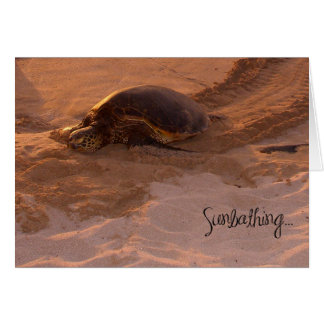 Sunbathing Belated Birthday Turtle Card