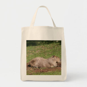 Sunbathing Capybara Tote Bag