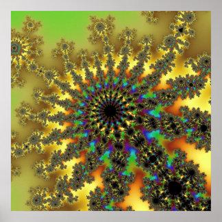 Sunbeam Fractal Burst Poster