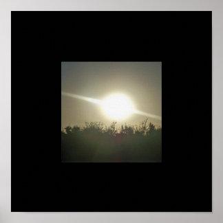 Sunbeams at Sunset Black Border Poster