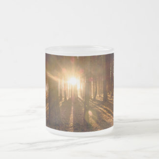 Sunbeams in Forest Frosted Glass Coffee Mug