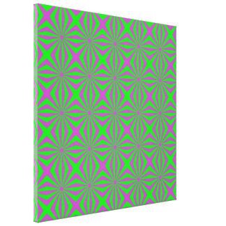 Sunbeams in Green and Pink tiled Canvas Print