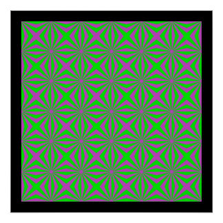 Sunbeams in Green and Pink tiled Poster