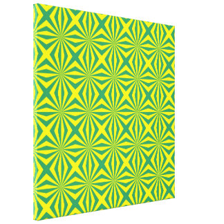 Sunbeams in Green and Yellow tiled Canvas Print