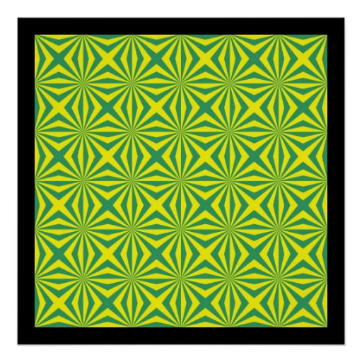 Sunbeams in Green and Yellow tiled Poster