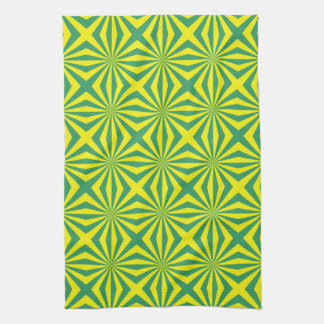 Sunbeams in Green and Yellow tiled Towels