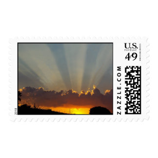 Sunbeams in the clouds. postage stamps